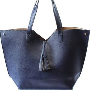 New! Neiman Marcus • Vegan Leather Navy Blue Tote